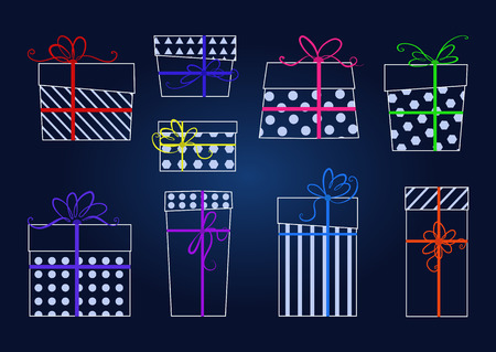 ribbons and bows: set of white contours gifts with colorful ribbons and bows. Illustration
