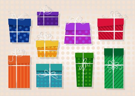 ribbons and bows: set of colored gifts with white ribbons and bows