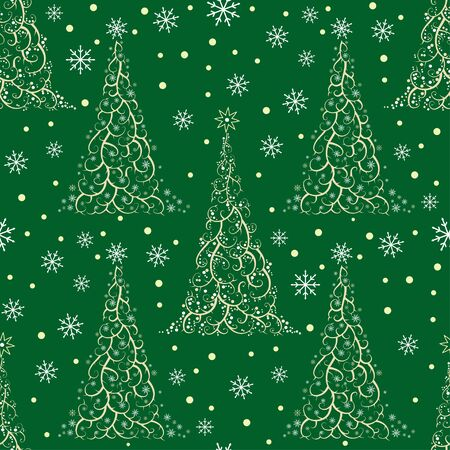 christmas snowflakes: Seamless pattern with stylized Christmas tree and snowflakes, in white and green colors.