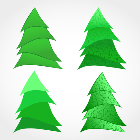 year curve: Vector set of stylized Christmas tree. Hand drawn illustration. In white and green colors. Gradient and transparency effects used. Illustration