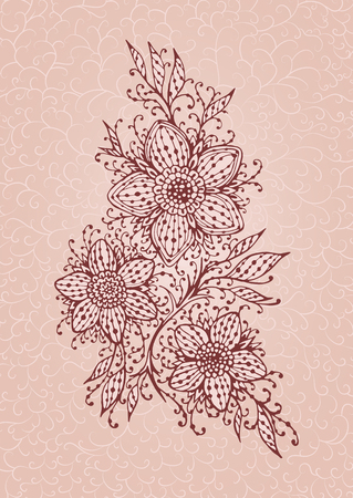 Hand drawn illustration of ornate flowers on tracery background. In dark red and pink colors.