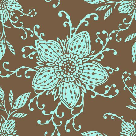 floral elements: Seamless pattern with hand drawn flowers and floral elements. In light brown and light blue colors.