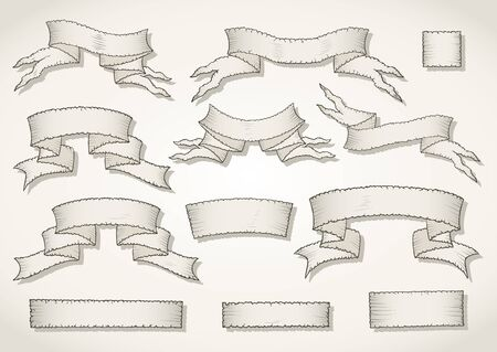 tattered: Vector set of hand drawn tattered banners. In light colors. Illustration