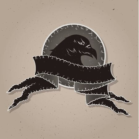 tattered: eagle head on shield with tattered banner. In dark colors. Gradient used.