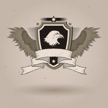 tattered: bald eagle head on shield. With tattered banner and wings.