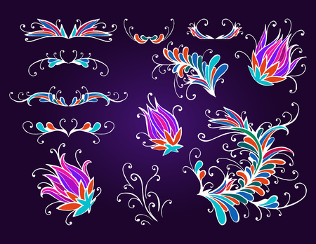 green card: hand drawn floral elements for design, dividers and flowers. In red, purple and green colors. Illustration