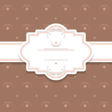 pink brown: Pattern background with label and ribbon. In brown and pink colors.