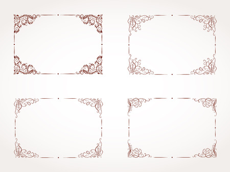 rectangular: Vector set of hand drawn rectangular ornamental frame.