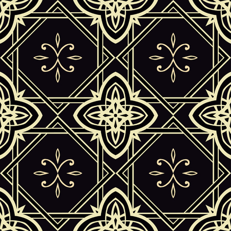 pale yellow: Seamless pattern with ornamental  elements. Vector. In black and pale yellow colors.