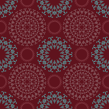 dark red: Seamless pattern with ornamental elements. Vector. In blue and dark red colors. Illustration