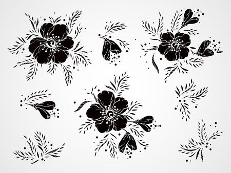 Conjunto de vectores de flores y las siluetas negro dibujado a mano, ramas y hojas.