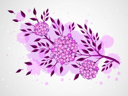 a twig: Vector hand drawn illustration with twig and flowers on textured watercolor background. In violet colors.