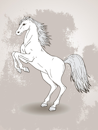 Vector hand drawn illustration with rearing horse on textured background. In light colors.