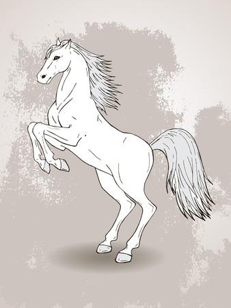 caballo saltando: vector dibujado a mano ilustración con la cría de caballos en el fondo con textura. En colores claros.