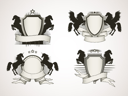 tattered: Vector set of shields with old tattered banners and silhouettes rearing horses. In light colors. Gradient used.
