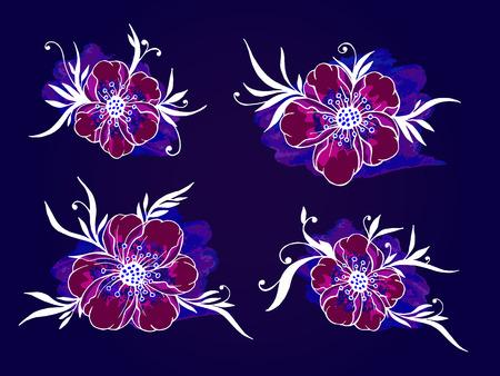 Vector conjunto de dibujado a mano las flores, ramas y hojas con el elemento de la acuarela con textura. En colores azul y burdeos.