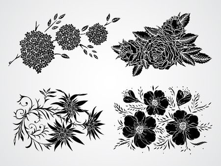 stamen: Vector set of black silhouettes hand drawn flowers, branches and leaves.