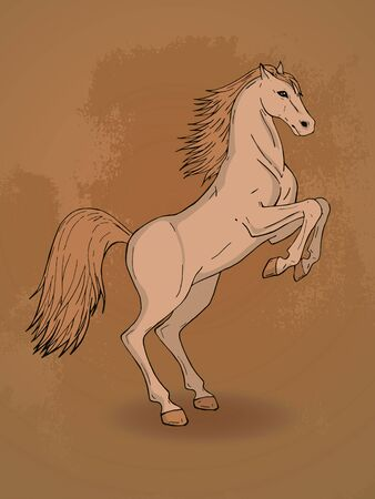 rearing: Vector hand drawn illustration with rearing horse on textured background. In beige colors.