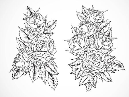 Conjunto de vectores de contorno negro rosas y hojas de dibujado a mano.