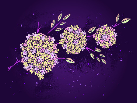 pale yellow: Vector hand drawn illustration with flowers on textured background. In purple and pale yellow colors.