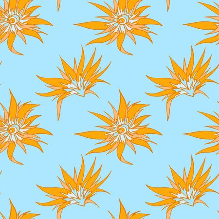 Seamless pattern with hand drawn flowers. In light blue and orange colors.