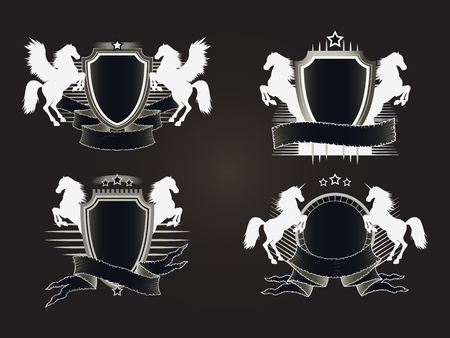 tattered: Vector set of shields with old tattered banners and silhouettes rearing horses, Pegasus. In dark colors. Gradient used.