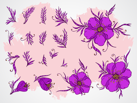 stamens: Vector set of hand drawn flowers, branches and leaves on textured background. In violet colors. Illustration