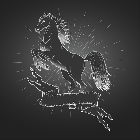tattered: Vector hand drawn illustration with rearing horse, tattered banner and rays. In dark colors. Illustration