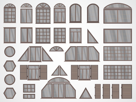 Vector set of different windows and shutters. In light colors. 矢量图像
