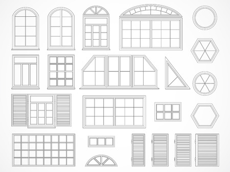 sill: Vector set of black contours windows and shutters. Isolated. Icons. Illustration