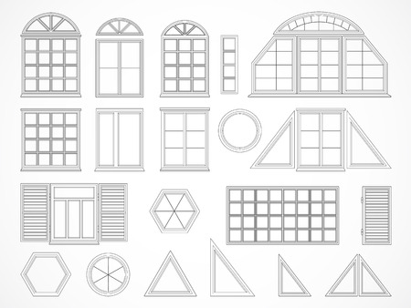 exterior architectural details: Vector set of black contours windows and shutters. Isolated. Icons. Illustration