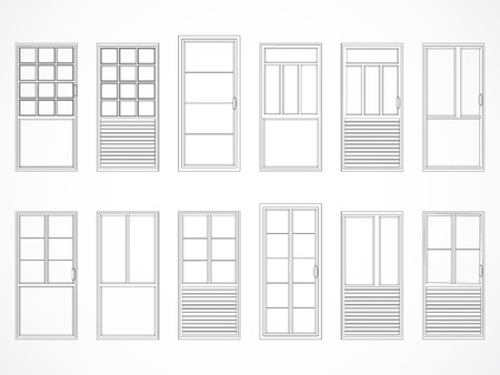 contours: Vector set of black contours doors. Isolated. Icons. Illustration