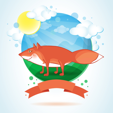 friendliness: Vector illustration of funny fox and banner on cartoon landscape.