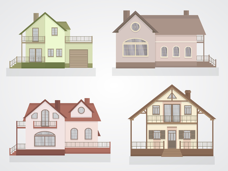 set of private colorful houses icons. Flat design. Ilustracja