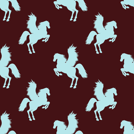 rear wing: seamless pattern with silhouettes Pegasus. In burgundy and blue colors. Illustration