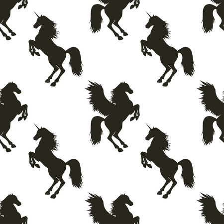 rear wing: Vector seamless pattern with hand drawn silhouettes Pegasus and Unicorn. In black and white colors.