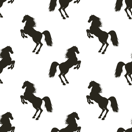 rearing: Vector seamless pattern with hand drawn silhouettes rearing horse.  In black and white colors. Illustration