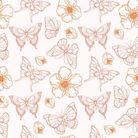 vector sin patrón con flores y mariposas dibujadas a mano. En colores rojo y blanco.
