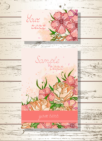 wedding ceremony: Vector set of templates invitations or greeting cards with hand drawn flowers, roses and watercolor elements on a wooden background. Collection of templates in pink colors.