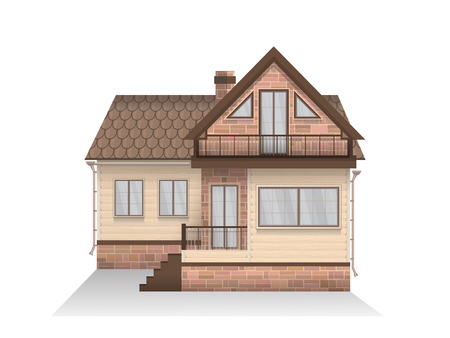 mansard: Vector illustration of detailed suburban family house with mansard. Wooden house. Isolated on white background. Illustration