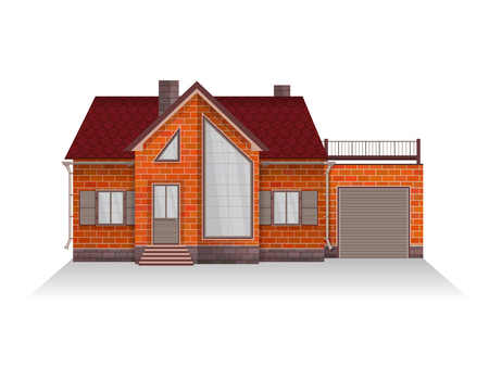 veranda: Vector illustration of detailed suburban family house with mansard and garage. Brick house. Isolated on white background.