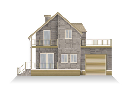 mansard: Vector illustration of detailed suburban family house with mansard and garage. Stone house. Isolated on white background.