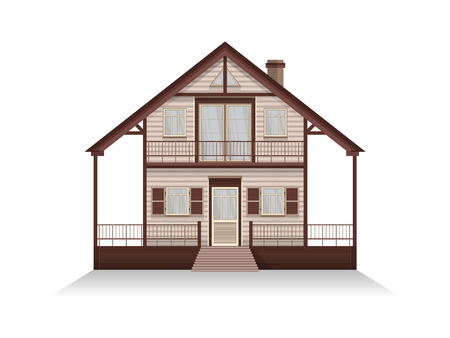 front porch: Vector illustration of detailed suburban family house with mansard. Wooden house. Isolated on white background. Illustration