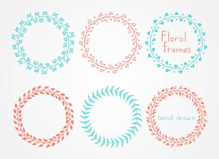 marcos redondos: Vector set of floral hand drawn round frames. In red and green colors.