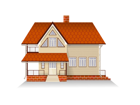 family house: Vector illustration of detailed suburban family house with mansard. Wooden house. Isolated on white background. Illustration