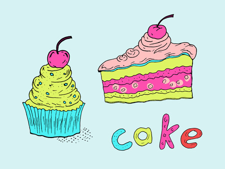 """Hand-drawn illustration of a cake, cupcake and handwritten inscription """"Cake"""". Colored sketch. Illustration"""