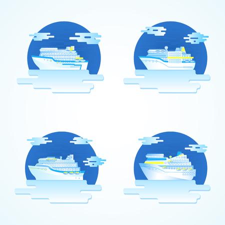 Vector set gekleurde ronde pictogrammen met cruiseschepen. Stockfoto - 81388742