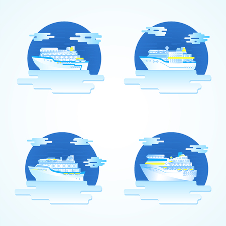 cruising: Vector set of colored round icons with cruise ships.