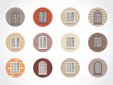 siding: Vector set of round colored icons of windows on different walls.