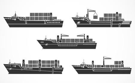 乾燥した貨物船、コンテナー船のベクトルを設定します。黒のシルエット。船の他のセットを参照してください。